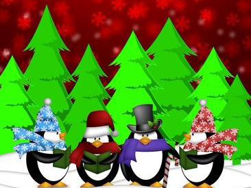 [photo of a Christmas penguin quartet!]